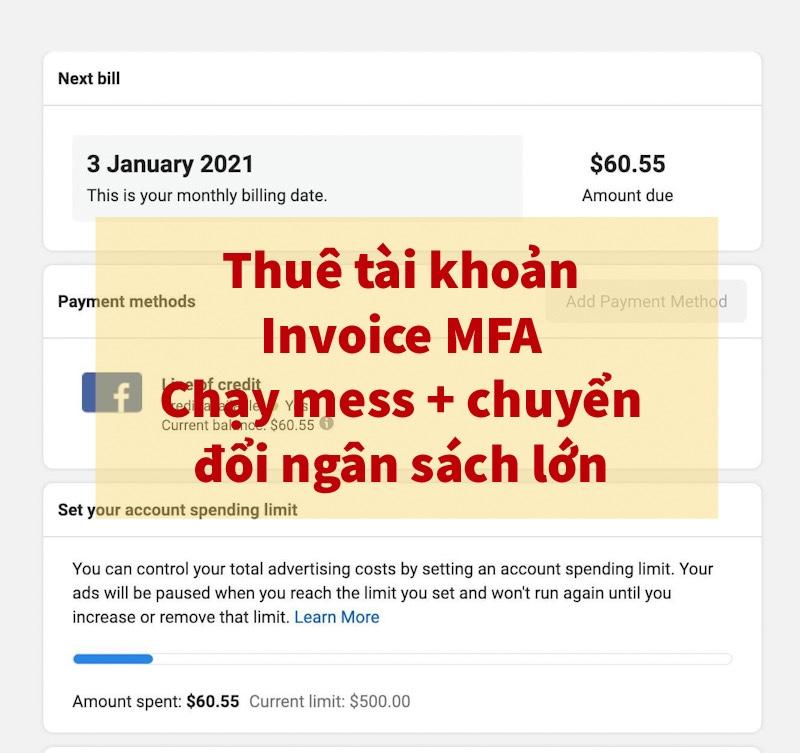 Thuê tài khoản quảng cáo Facebook invoiceSLL